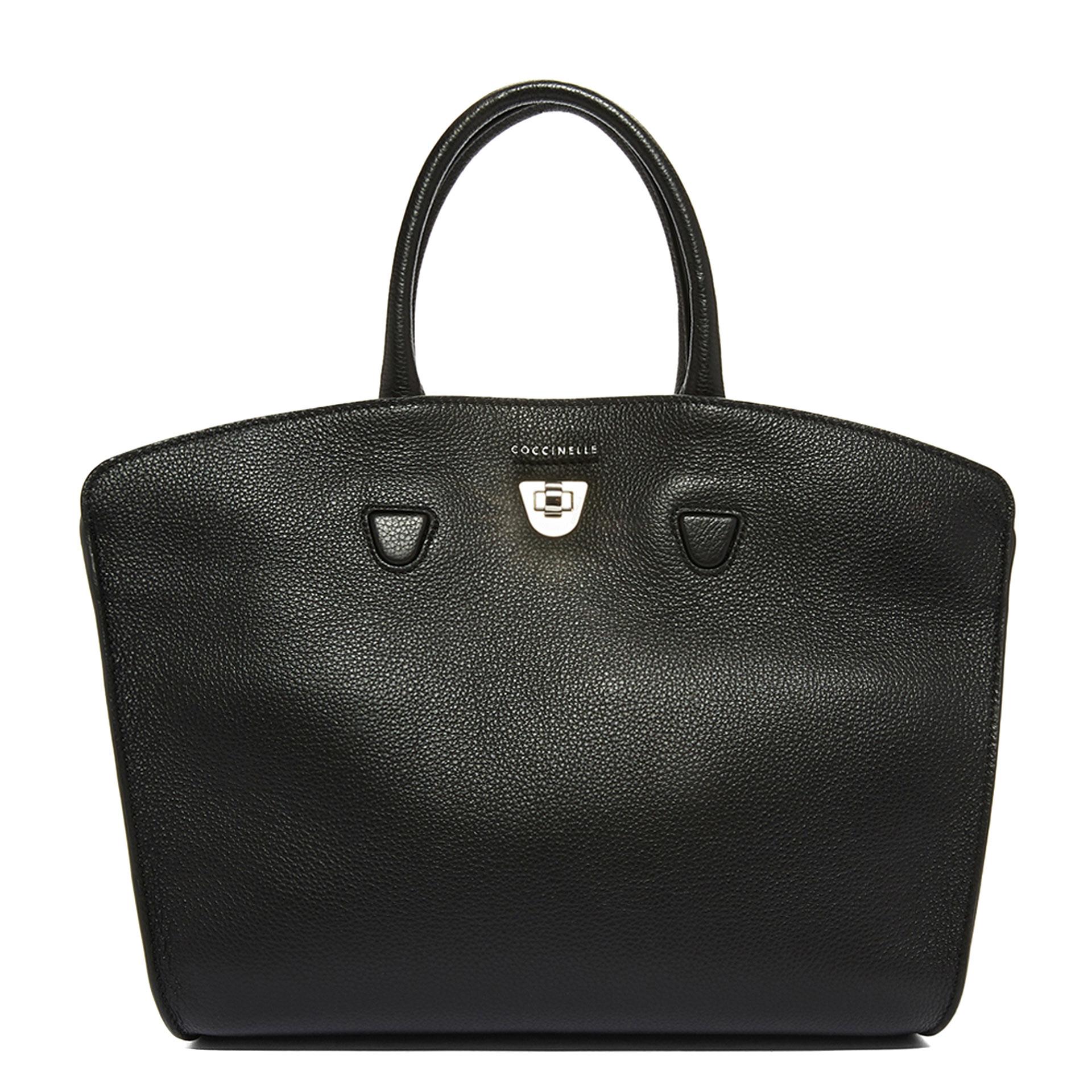 Coccinelle Angie Medium Handtasche aus Bottalata-Leder noir