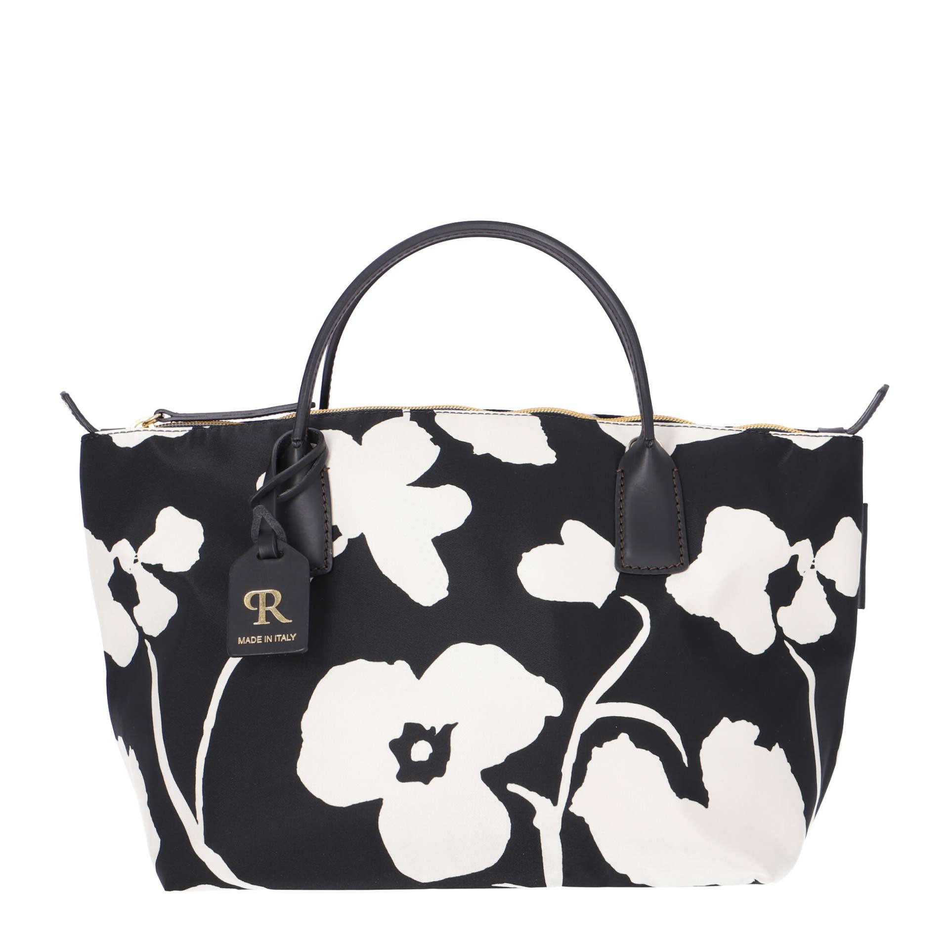 Robertina Handtasche S Flower Firman schwarz