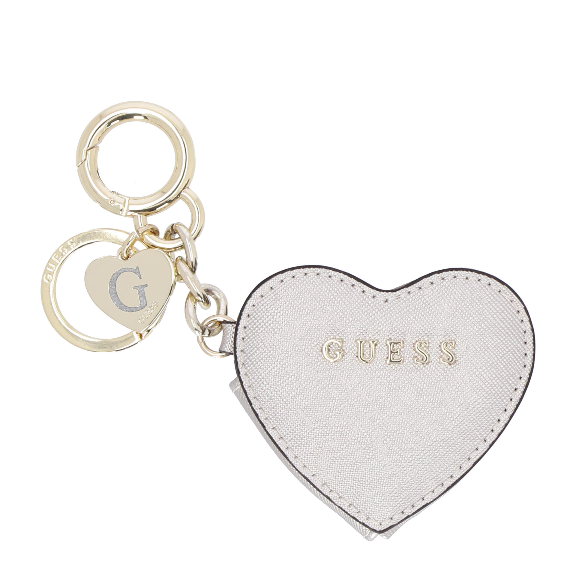 Guess Logo Schlüsselanhänger Herz silver