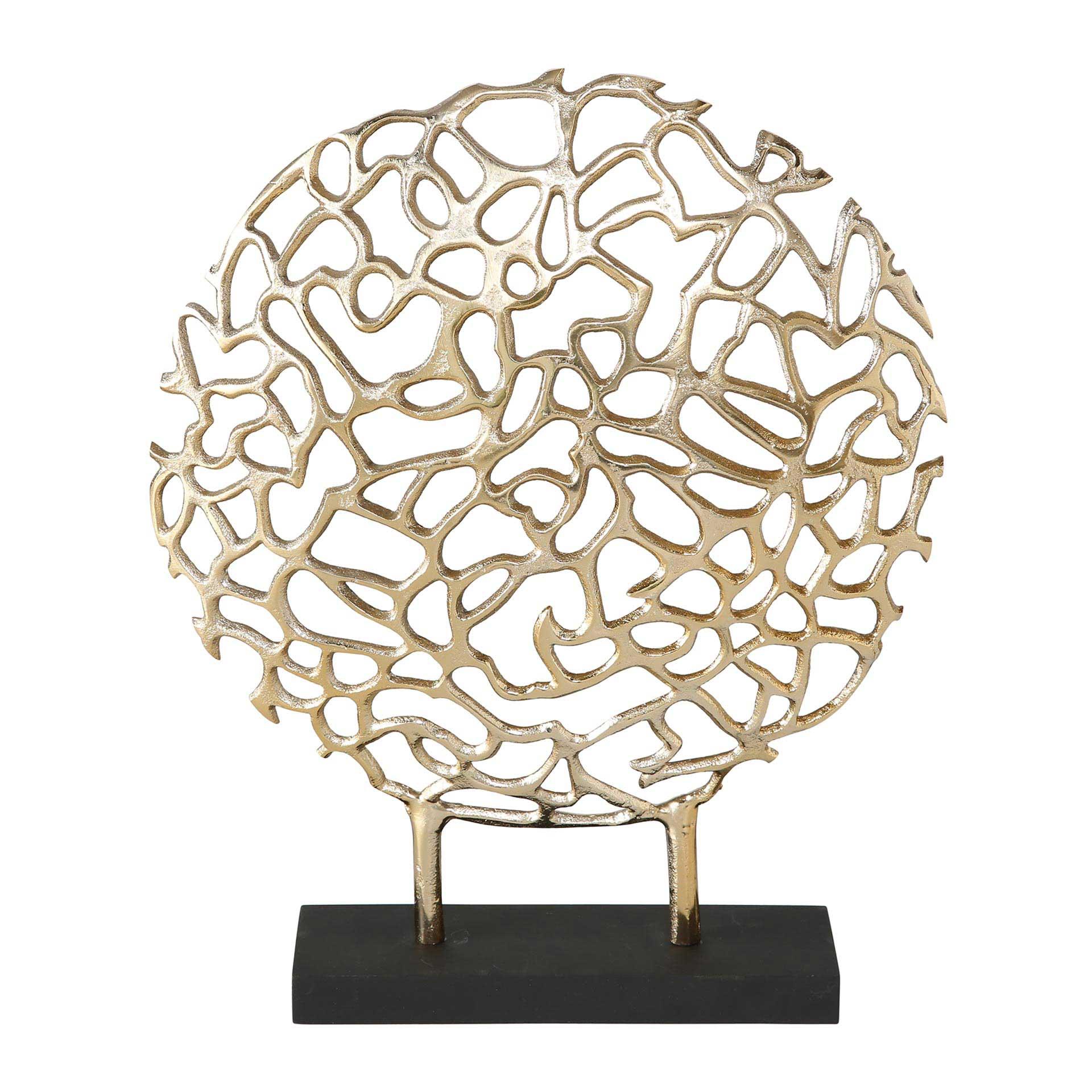 Boltze Fidan Dekoaufsteller mit Stand 36 cm aus Aluminium gold