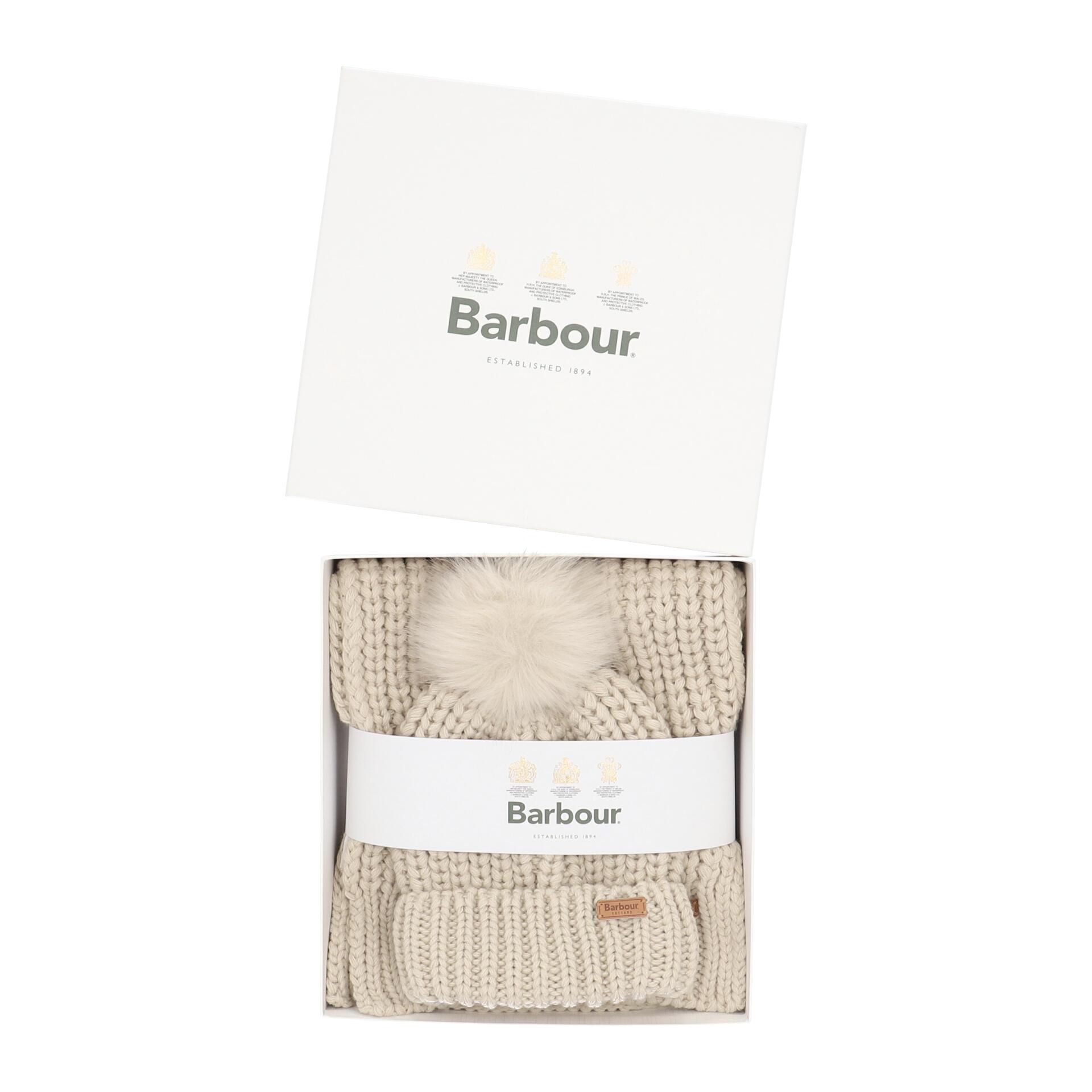 Barbour Saltburn Mütze und Schal im Geschenkset pearl