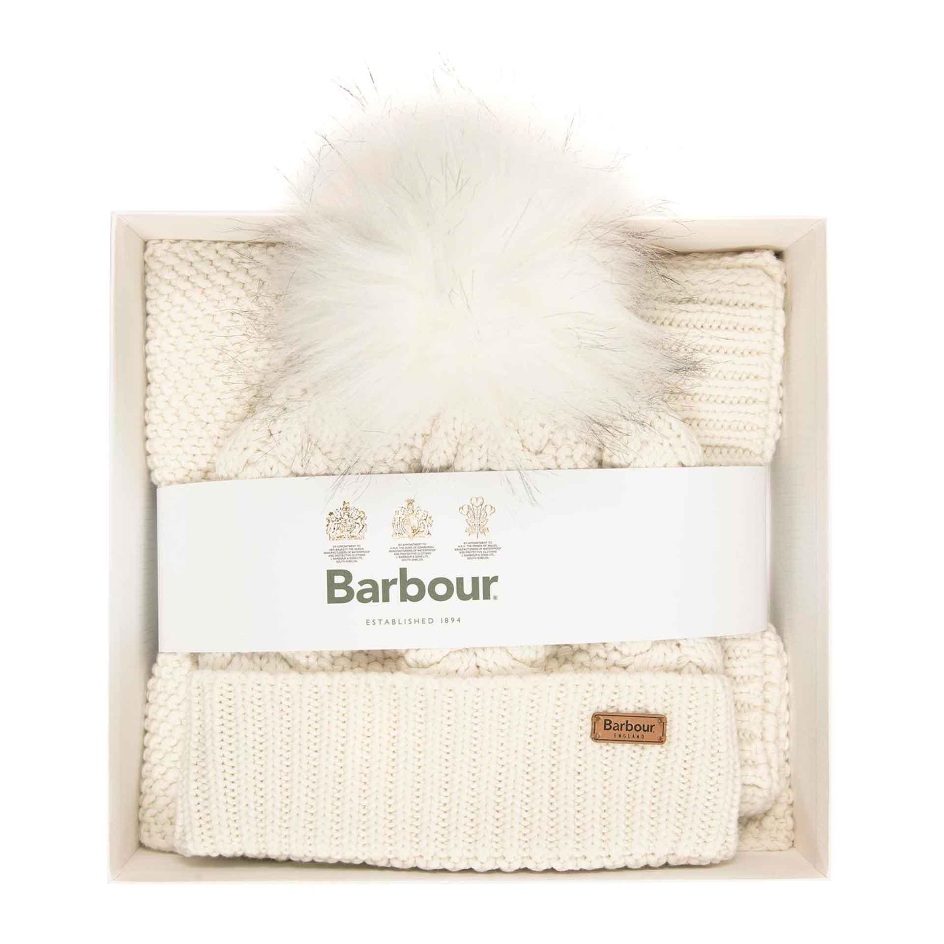 Barbour Hartley Beanie und Schal im Geschenkset white