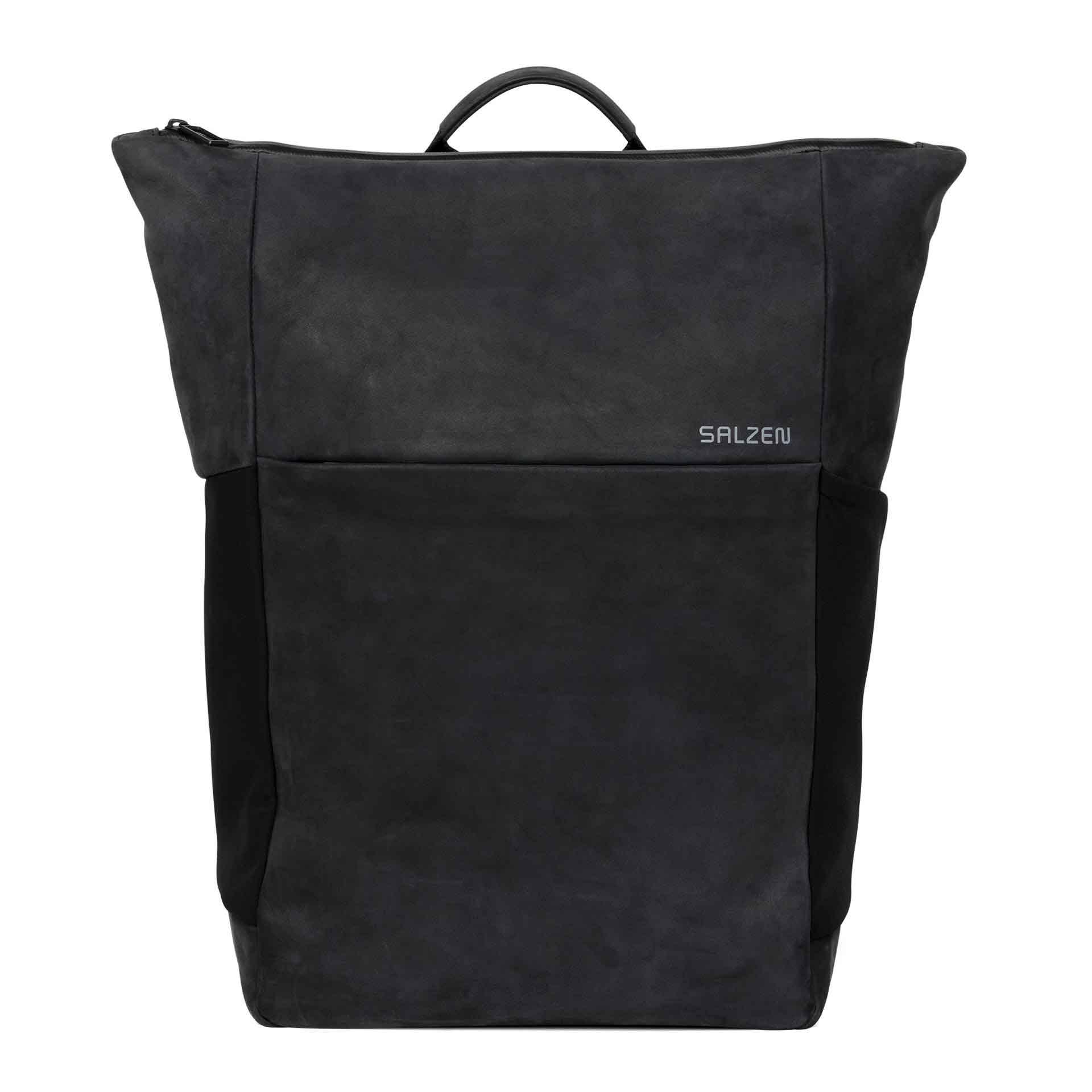 Salzen Vertiplorer Leather Plain Backpack charcoal black