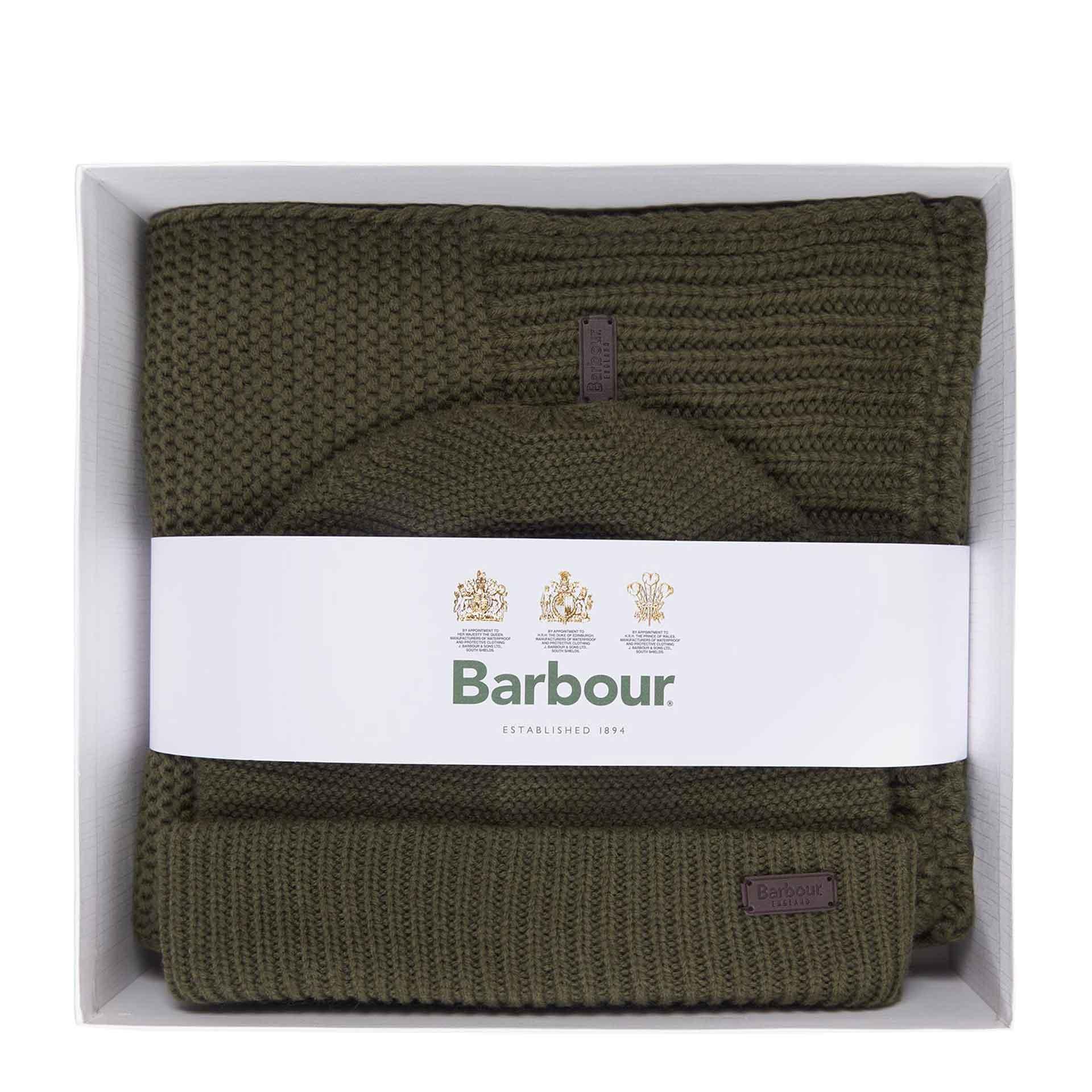 Barbour Wingate Beanie und Schal im Geschenkset olive