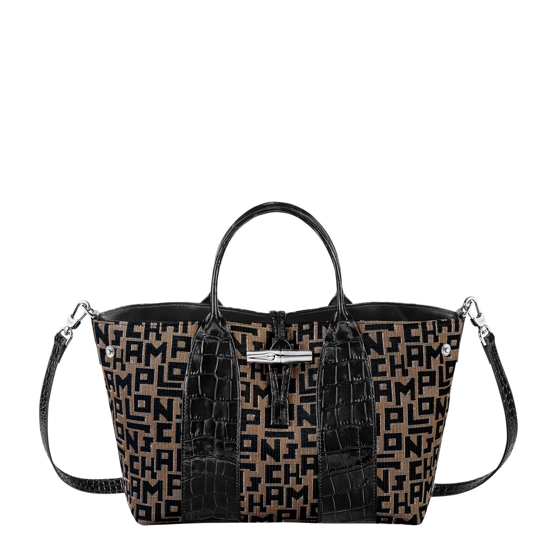 Longchamp Roseau Handtasche taupe black