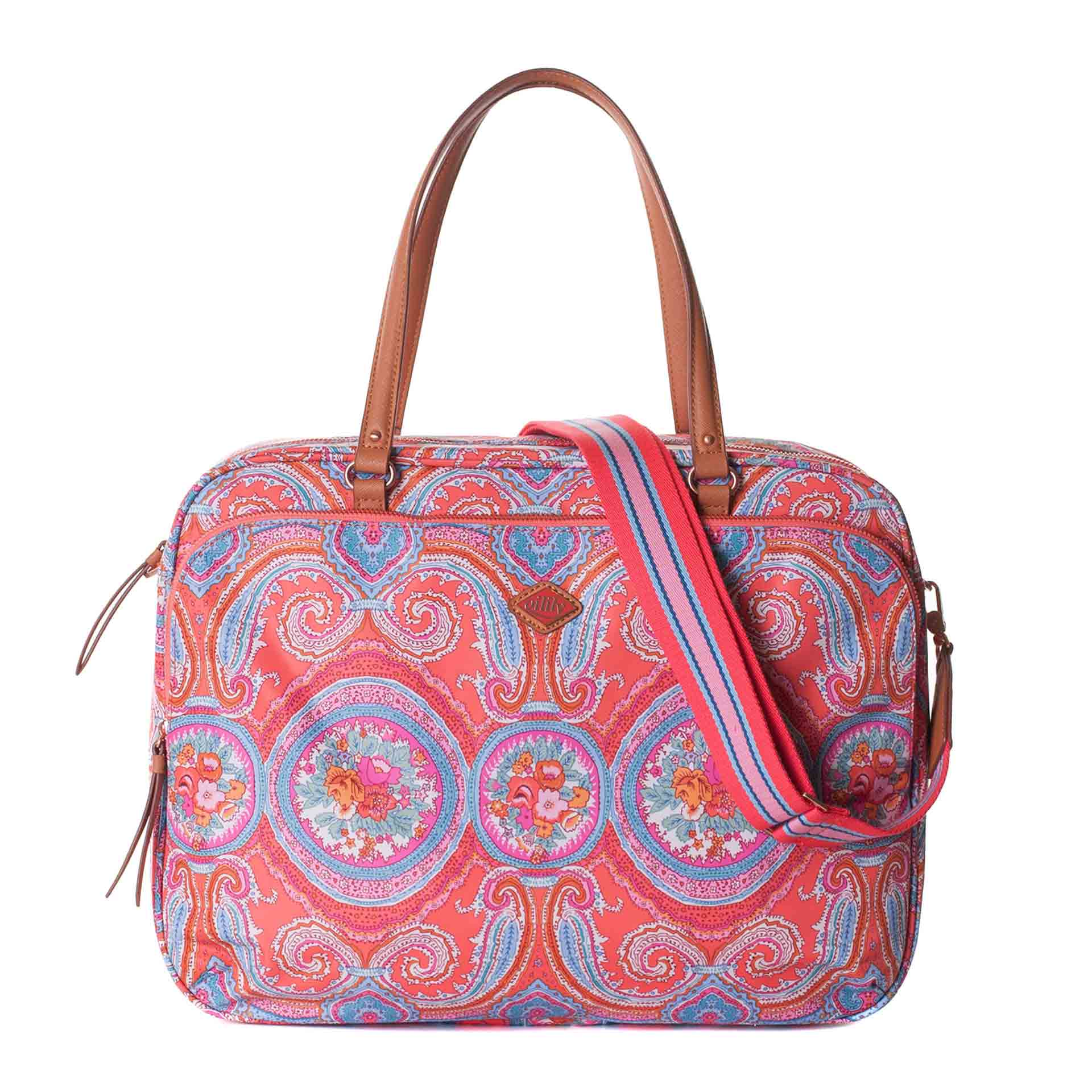 Oilily City Rose Paisley Businesstasche hot coral