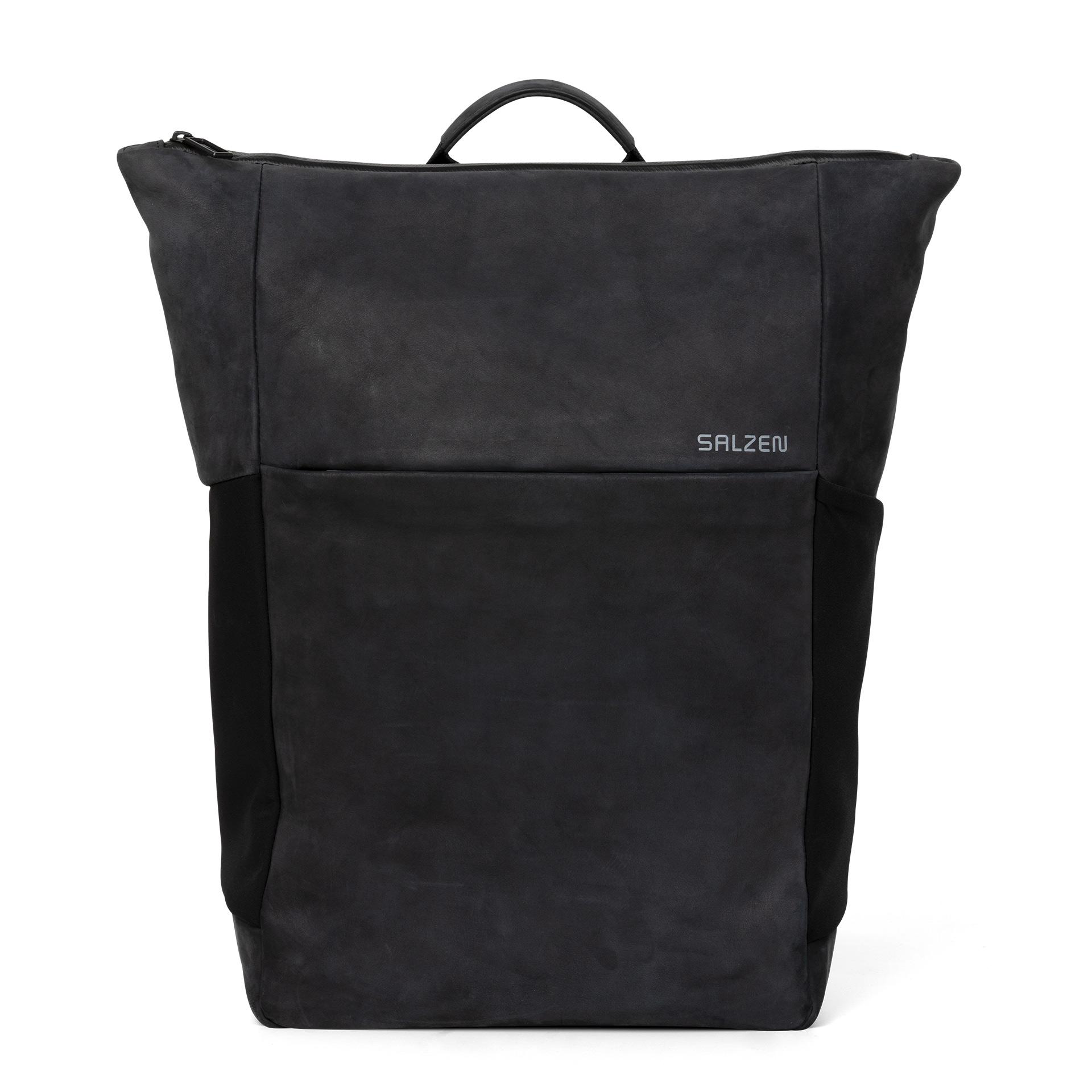 Vertiplorer Leather Plain Backpack charcoal black