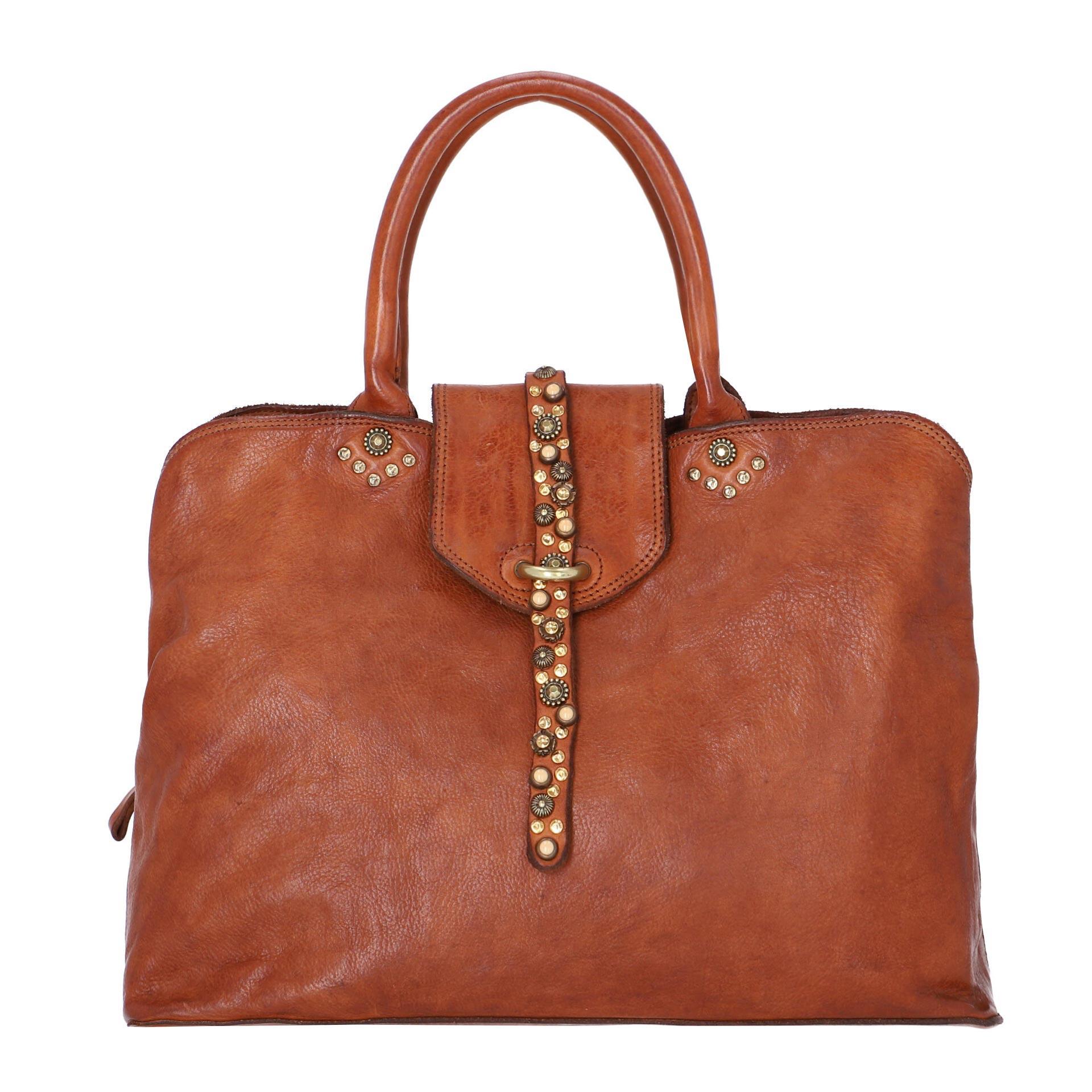 Cefalù Handtasche aus Leder cognac