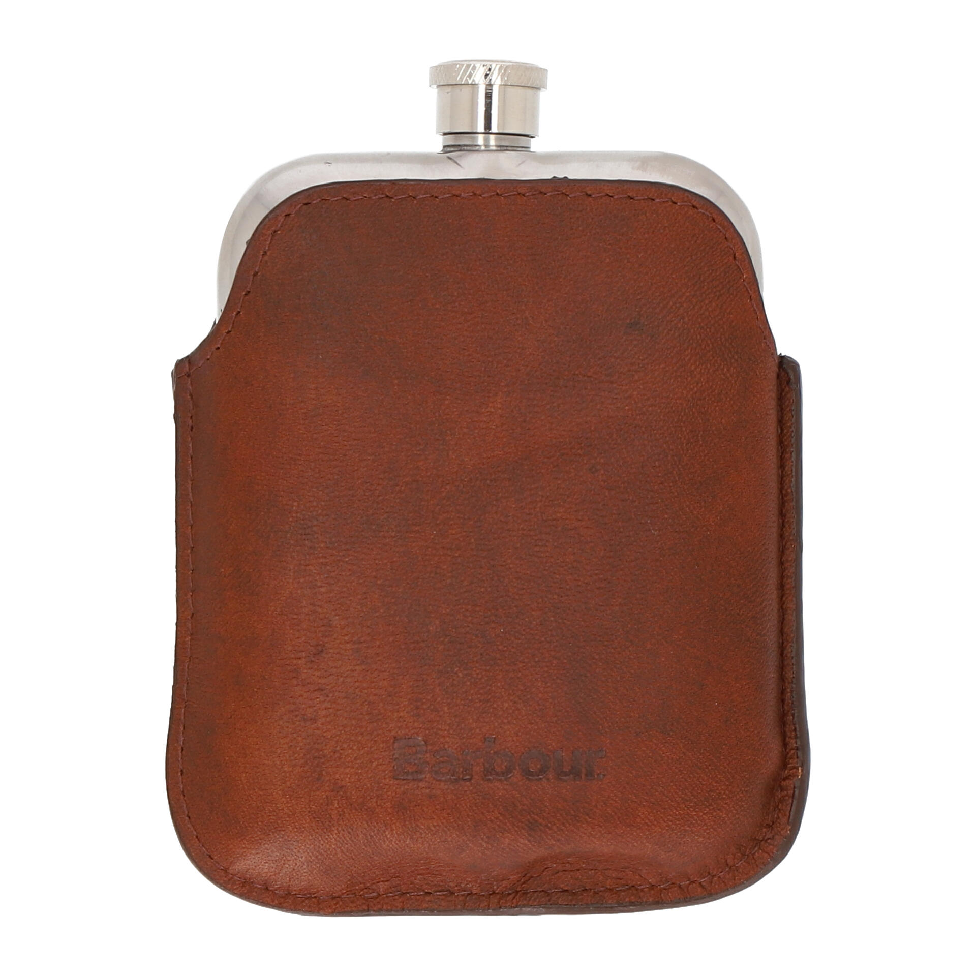 Barbour Wax Hip Flask Flachmann  dark brown