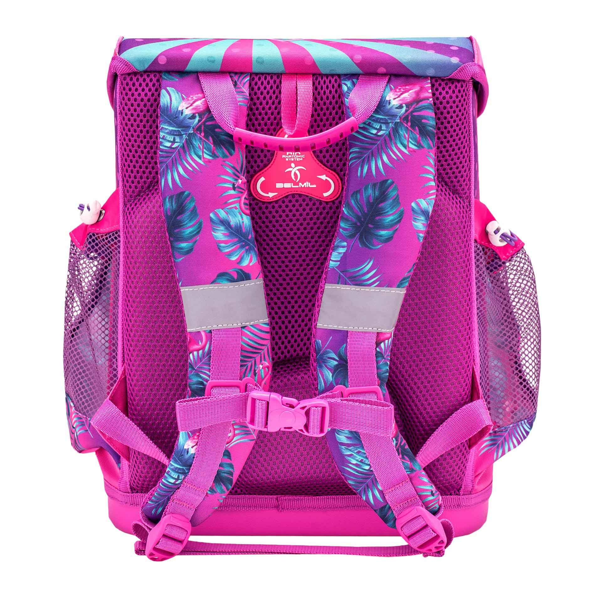 Belmil Mini-Fit Schulranzen Set 4-teilig Tropical Flamingo