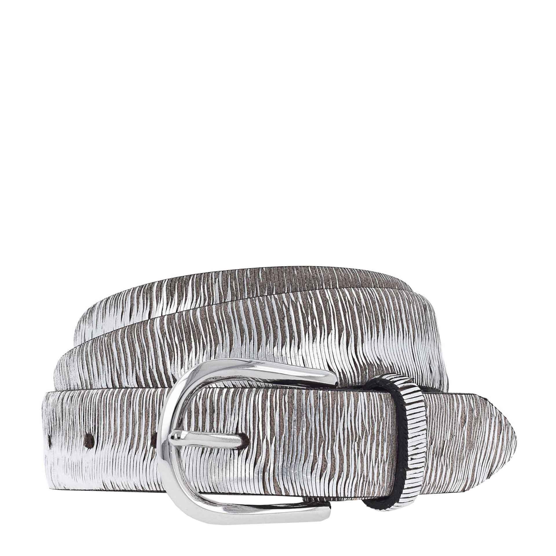b.belt Cuna Ledergürtel 90 anthrazit grau - silber metallic