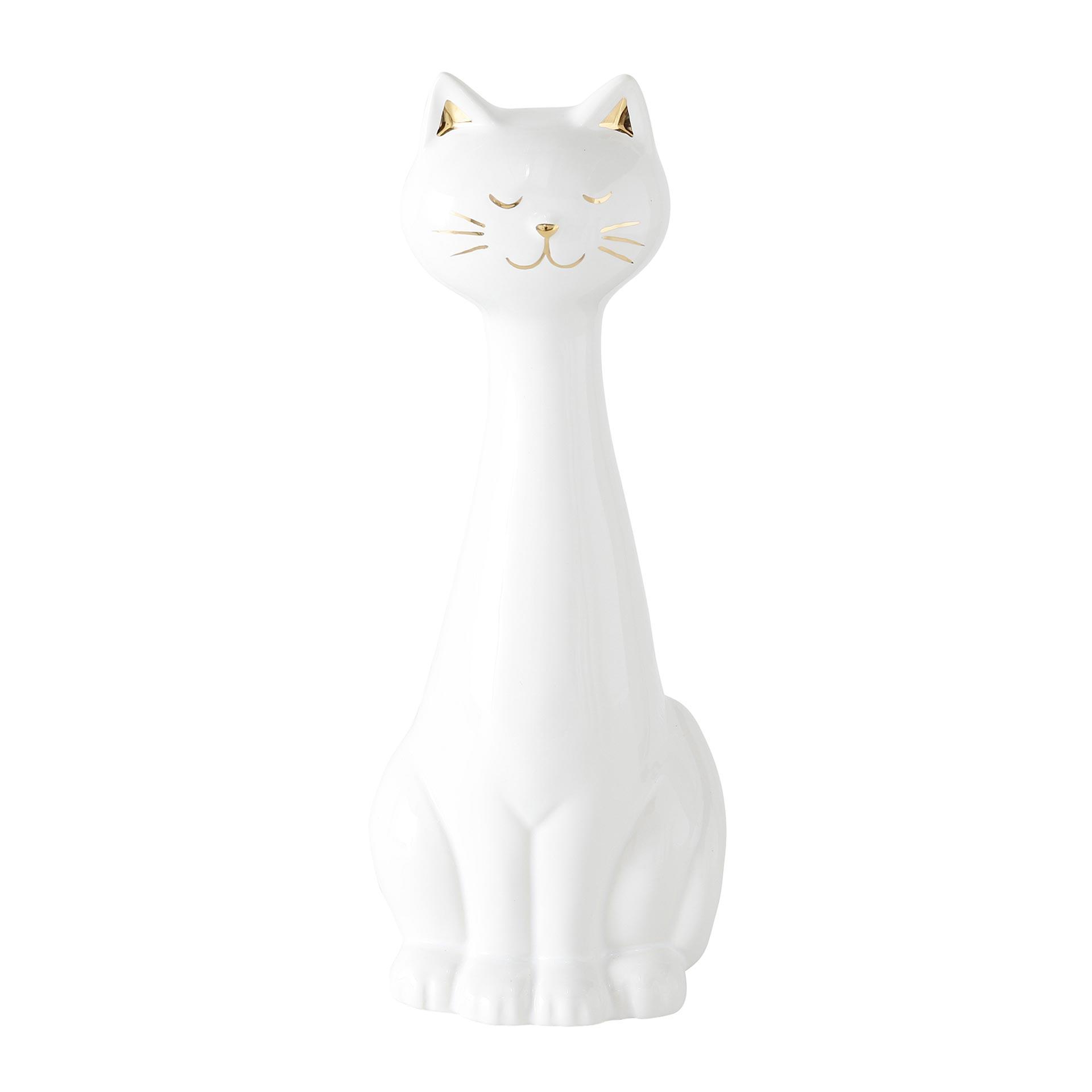 Boltze Smokey Figur Katze 27 cm; 1-teilig, farblich sortiert, steingut weiß