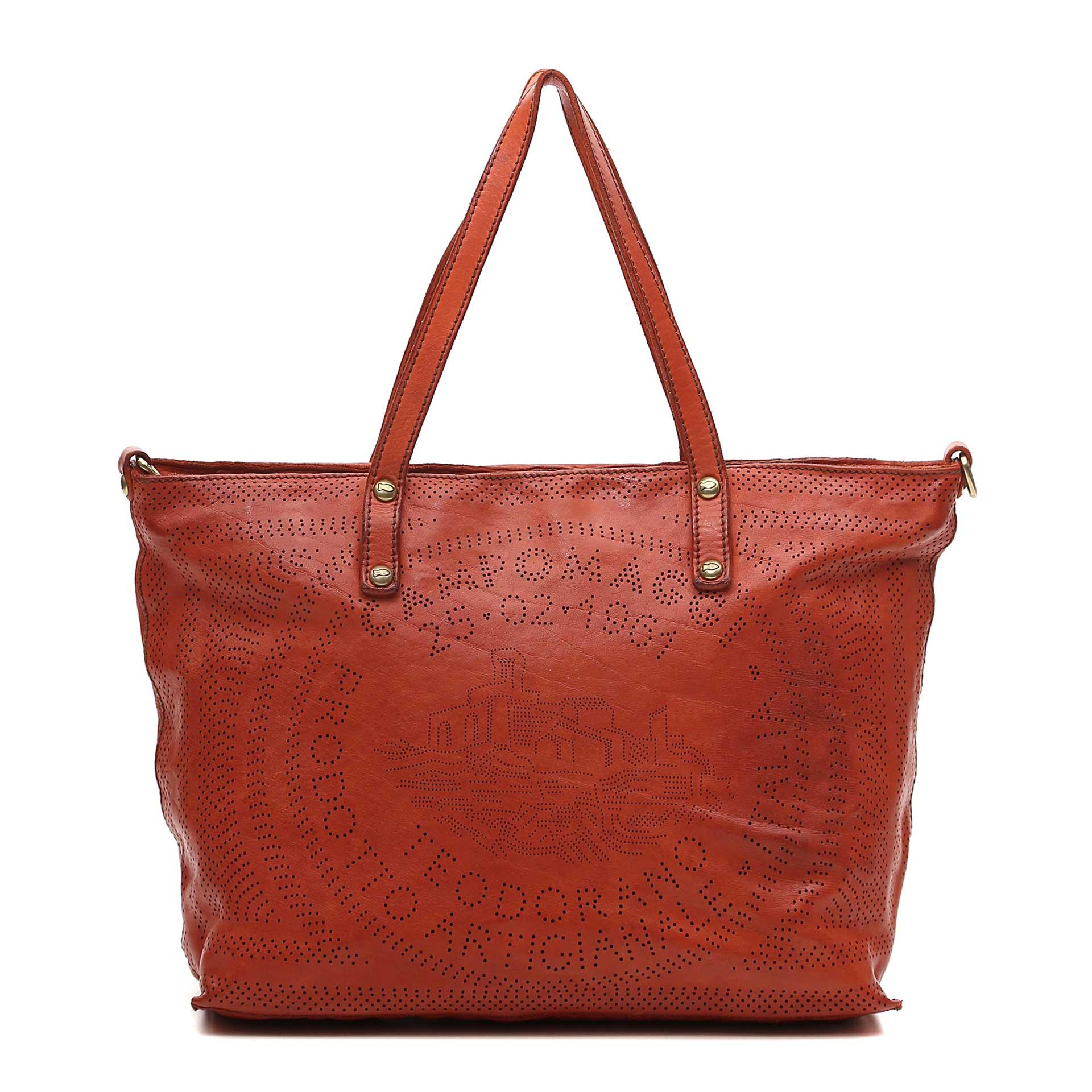 Campomaggi Cala Rossa Shopper aus Leder mit geometrischem Stanzmuster baked