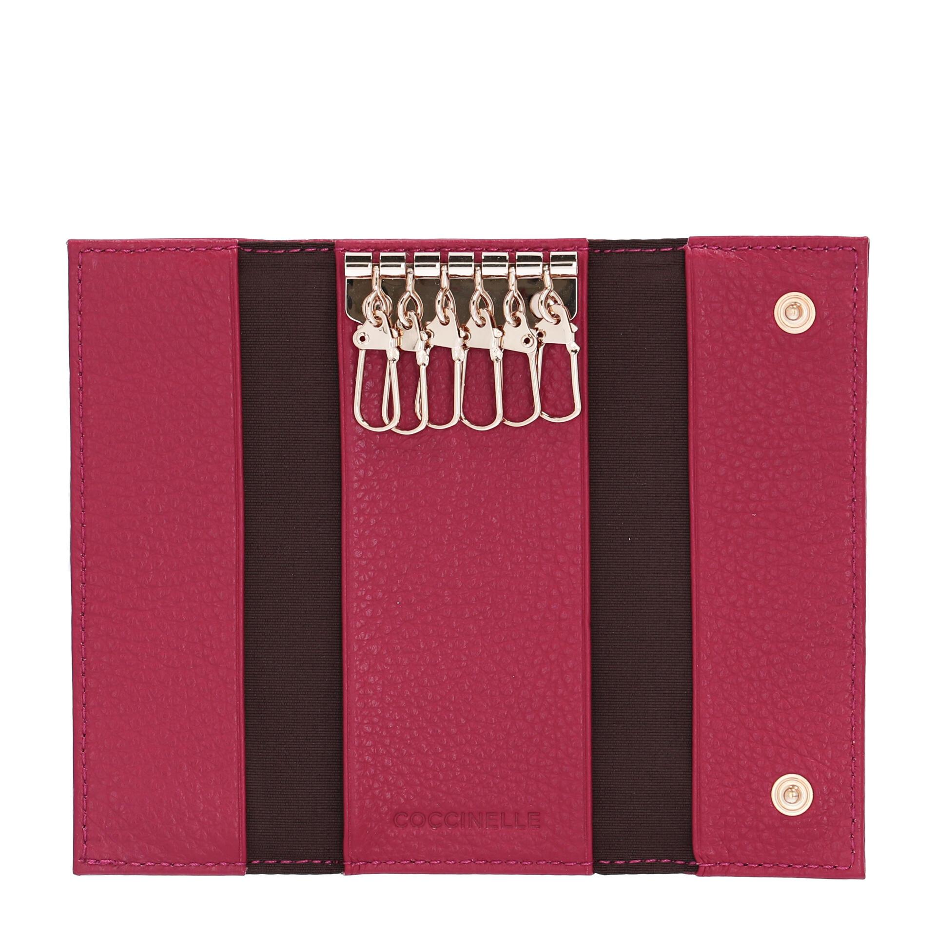 Coccinelle Metallic Soft Schlüsseletui aus natürlich genarbtem Leder cherry
