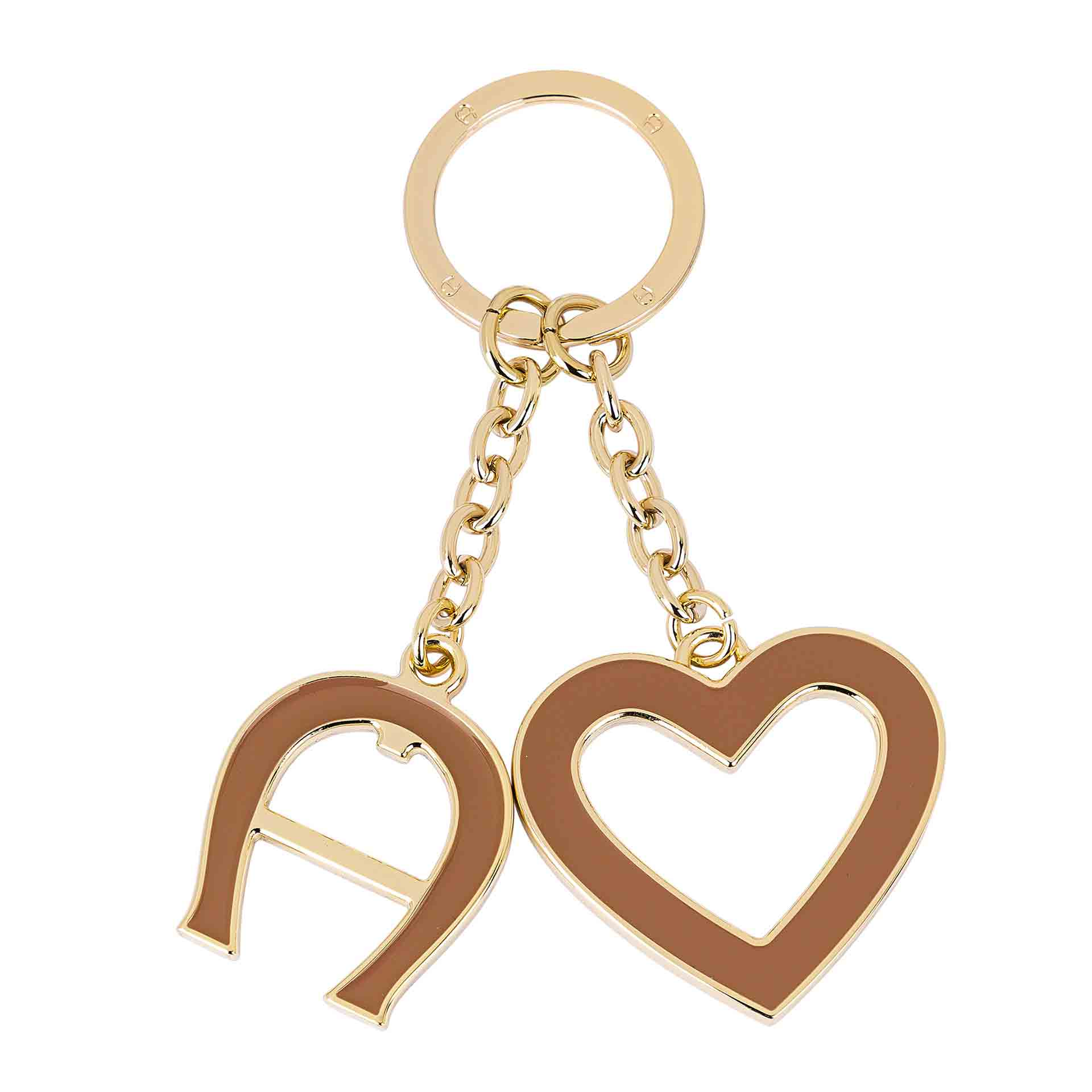 Aigner Fashion Schlüsselanhänger Herz und Logo cinnamon