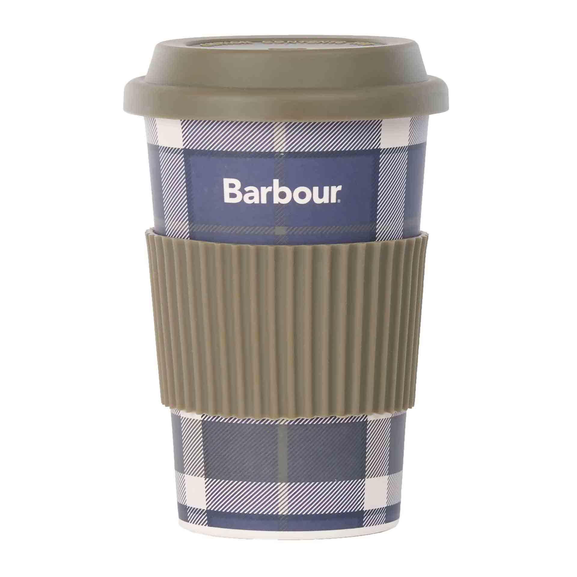 Barbour Tartan Travel Becher aus Bambus sage tartan