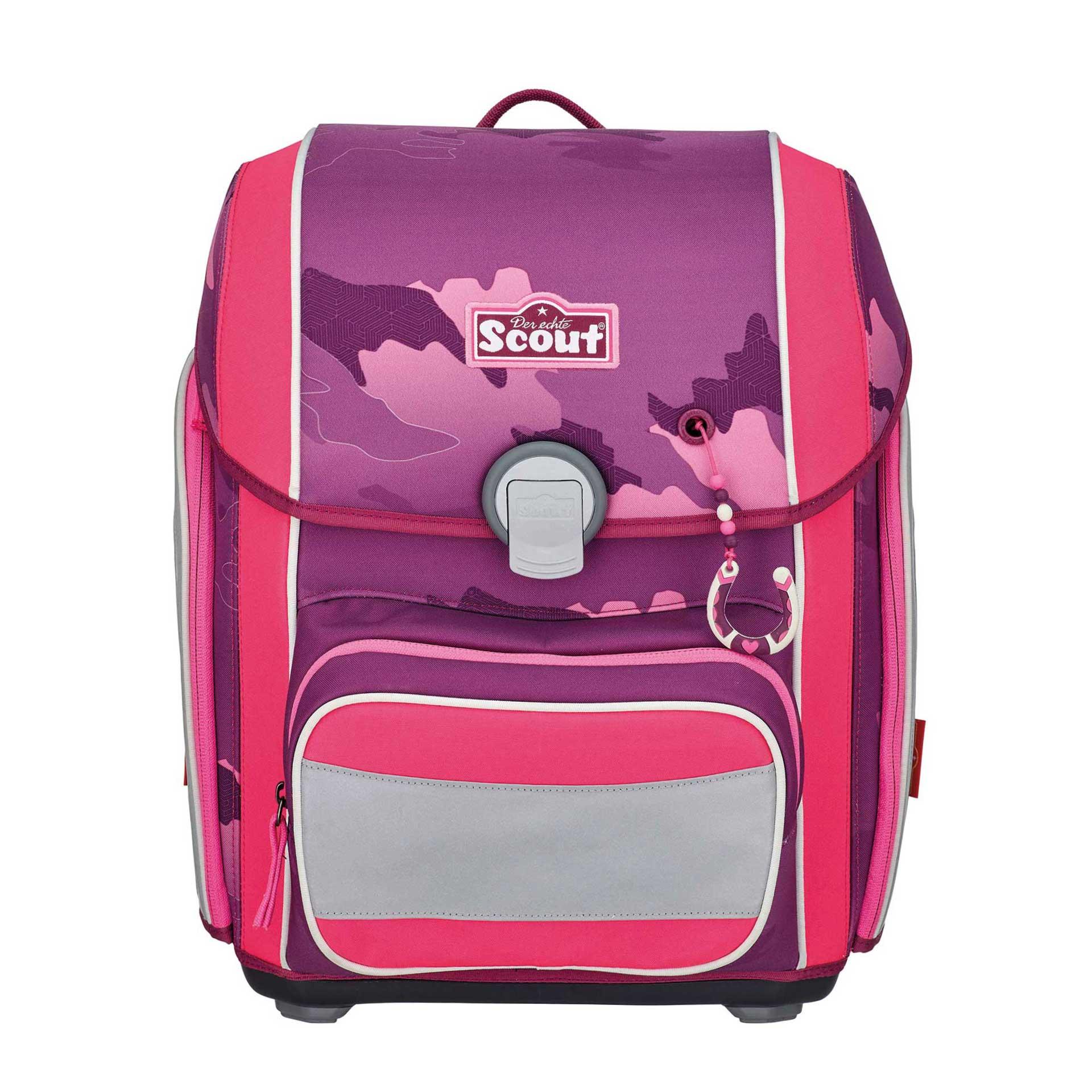 Scout Genius Schulranzenset 4-teilig inkl. 3 Funny Snaps Pink Horse