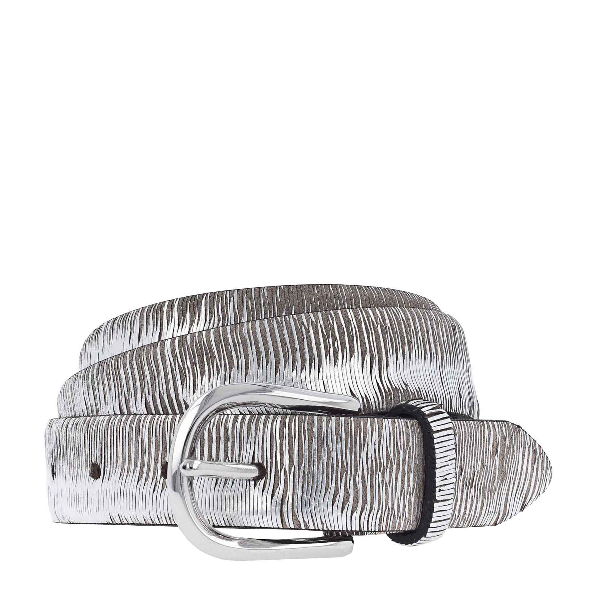 b.belt Cuna Ledergürtel 80 anthrazit grau - silber metallic