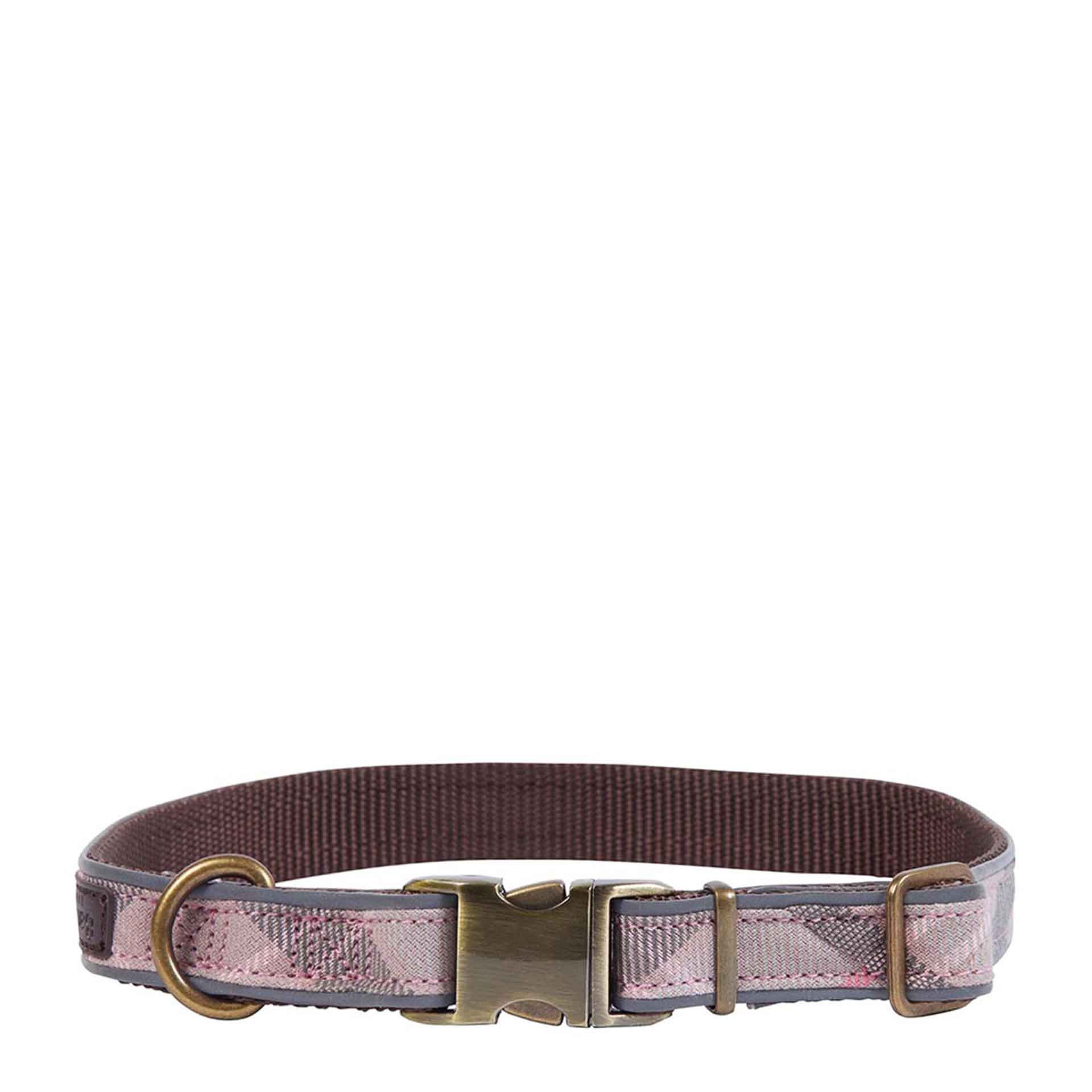 Barbour Reflective Tartan Hunde Halsband M taupe/pink tartan
