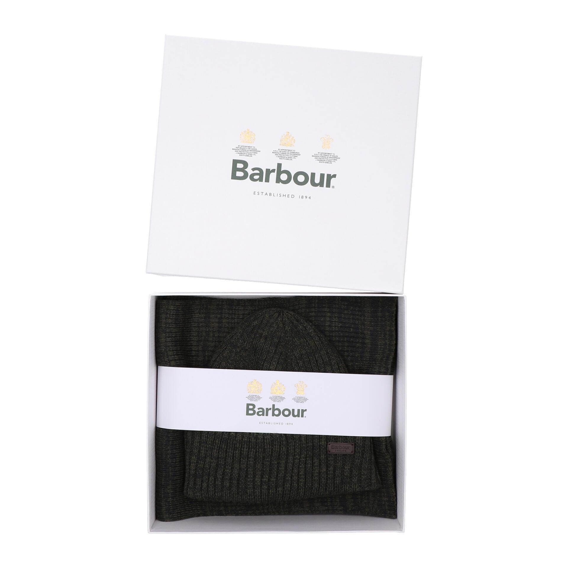Barbour Crimdon Beanie und Schal im Geschenkset olive twist