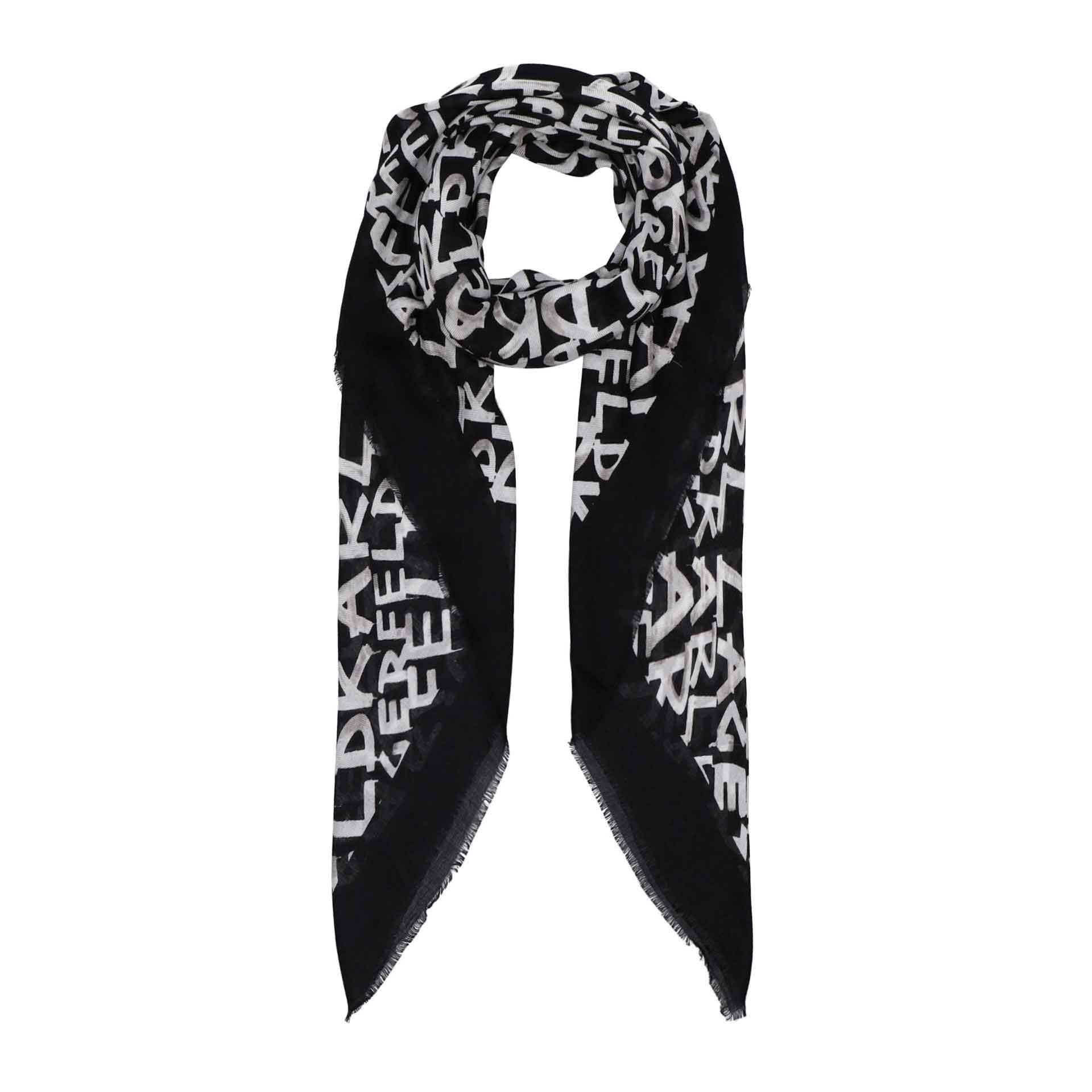 Karl Lagerfeld Grafiti Aop Square Scarf black white