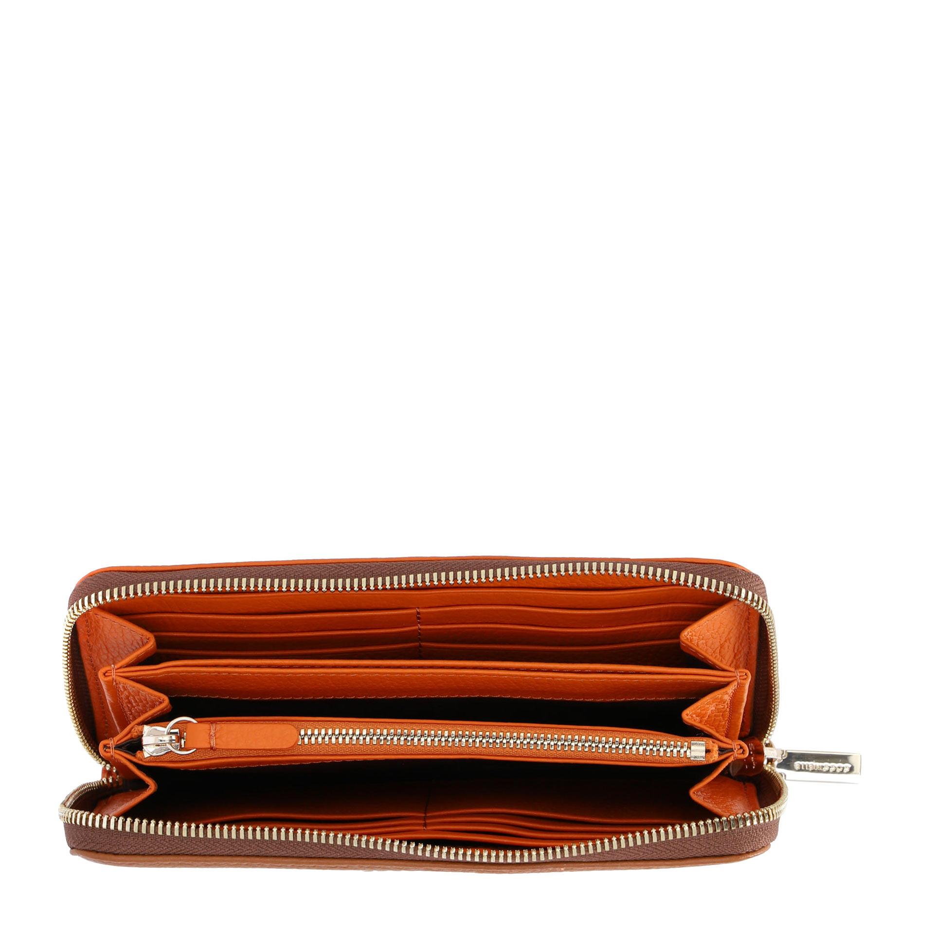 Coccinelle Metallic Bicolor Geldbörse aus natürlich genarbtem Leder caramel/ginger
