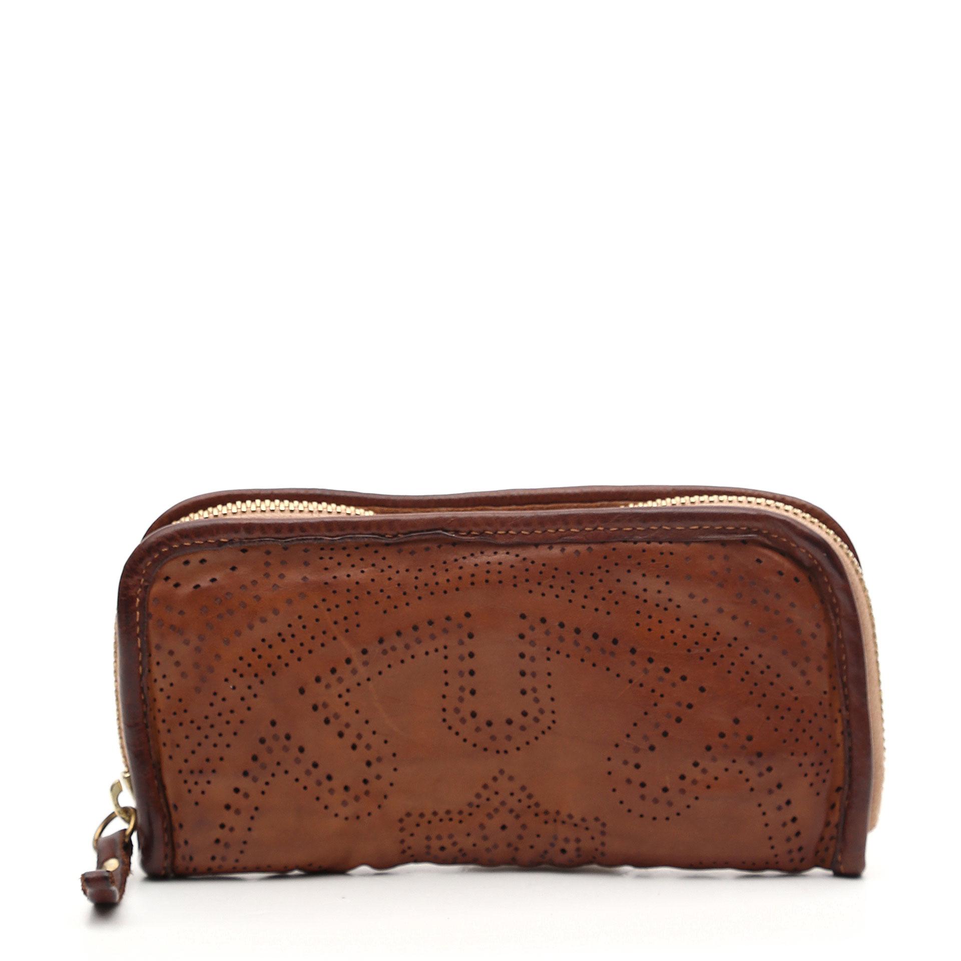 Campomaggi Traforo Geldbörse aus Leder mit geometrischem Stanzmuster cognac