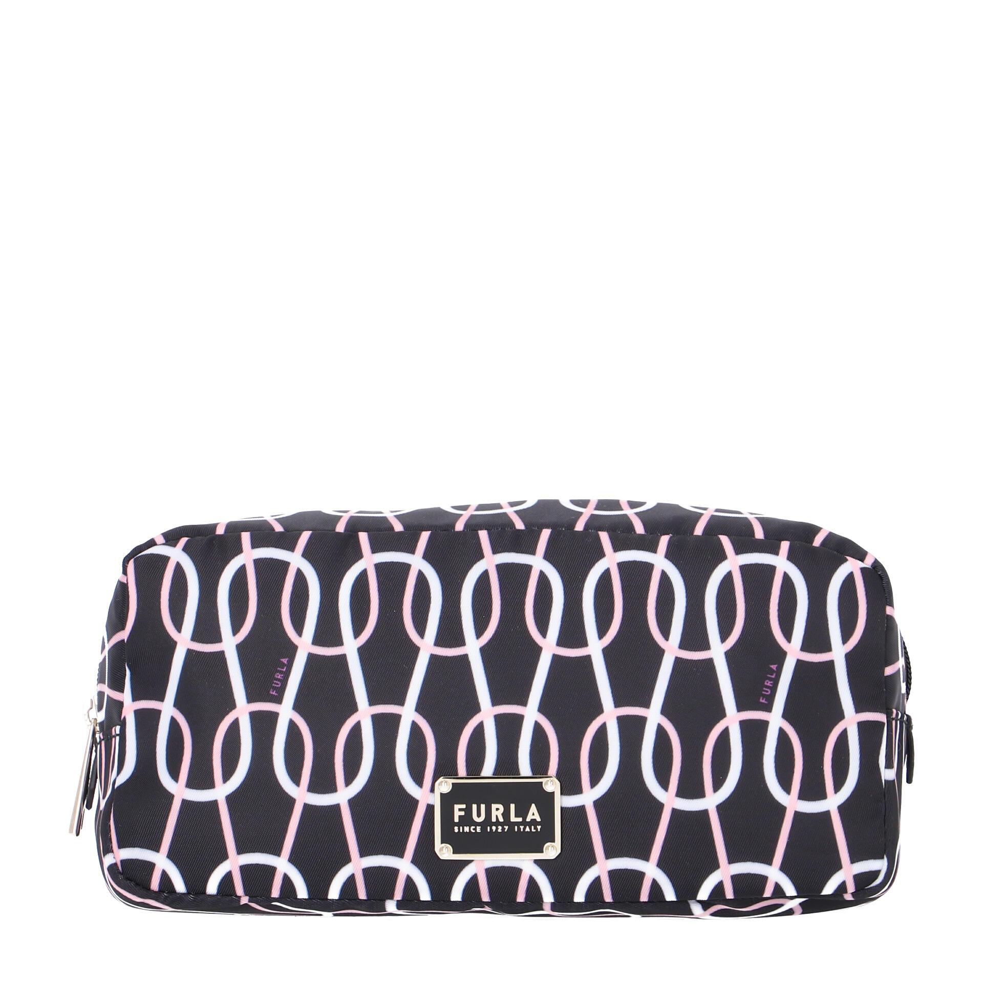Furla Digit L Cosmetic Case nero talco rosa chiaro