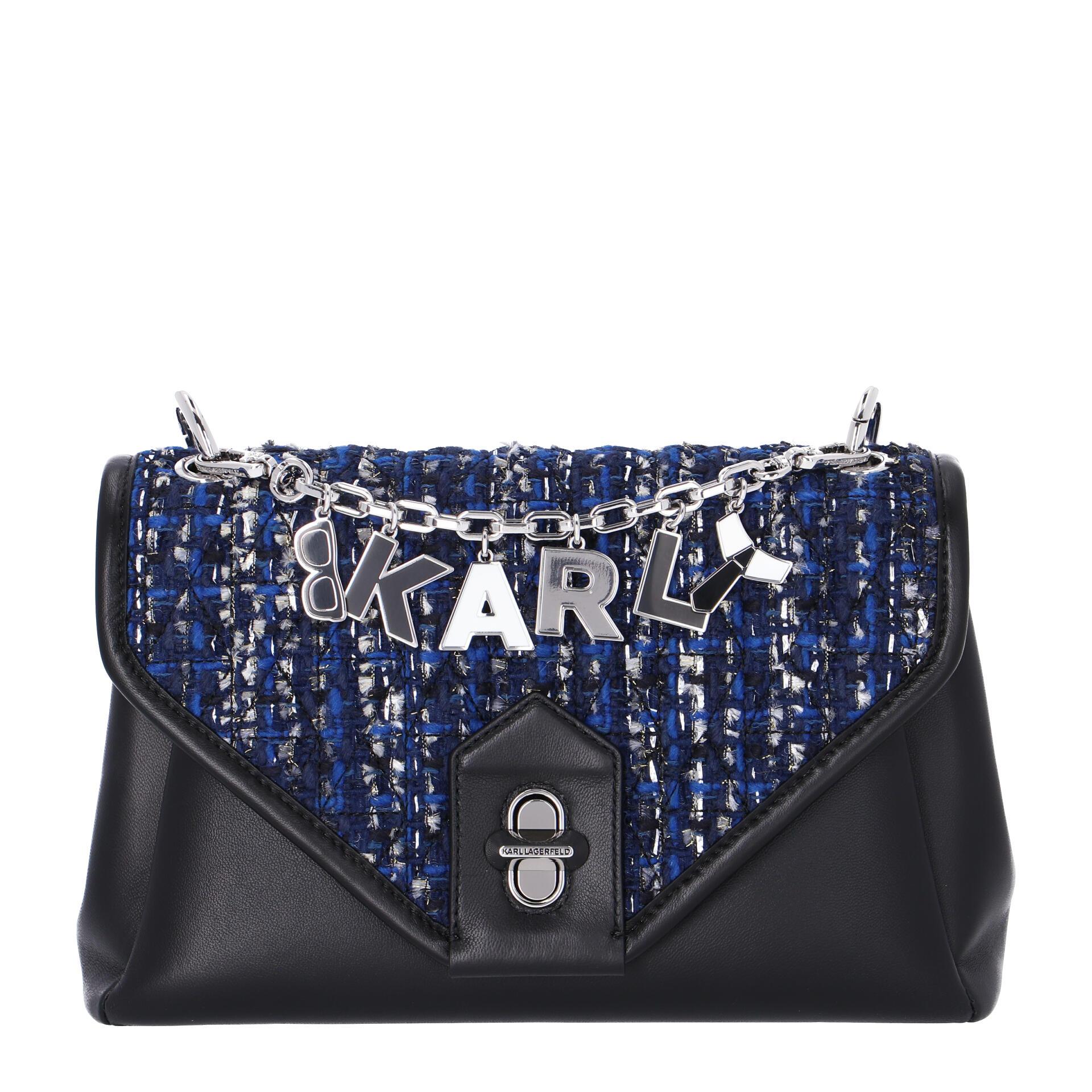 Karl Lagerfeld K/Studio Schultertasche aus Tweed blue