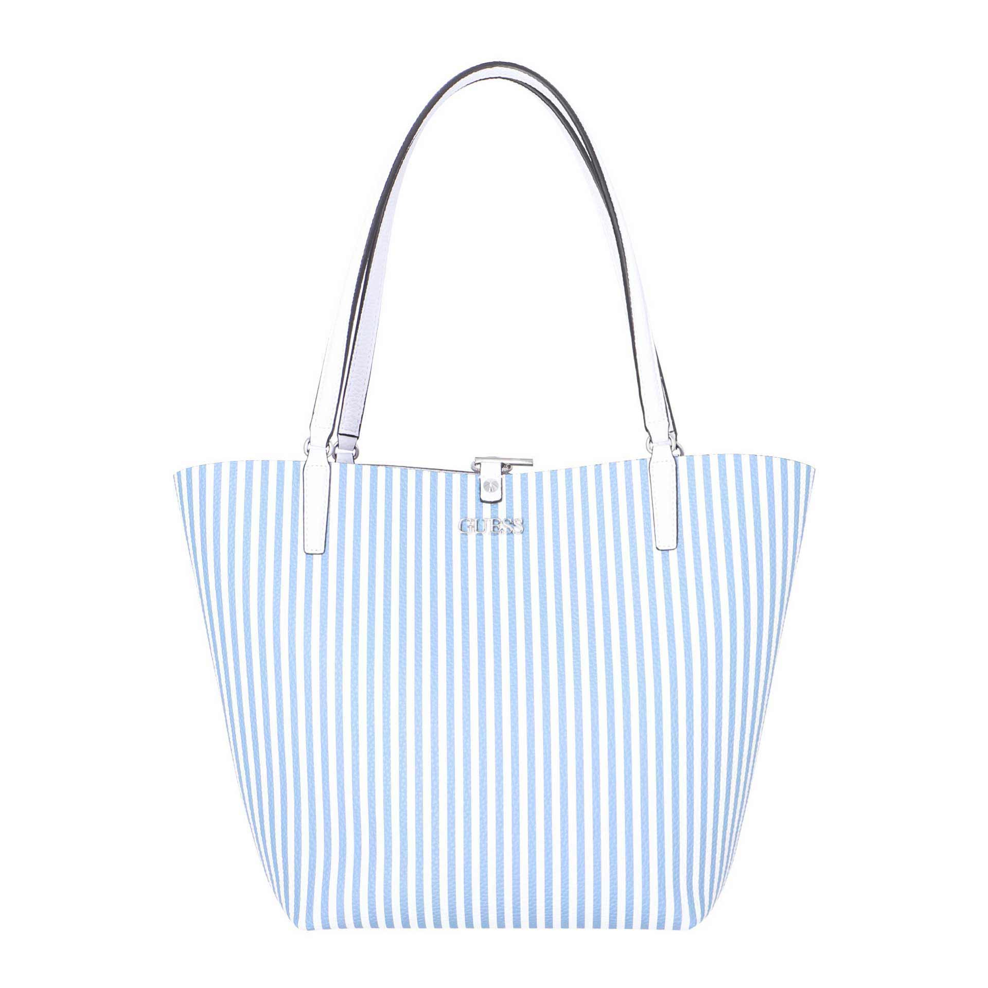Guess Alby Wende-Shopper mit herausnehmbarer Clutch stripe white