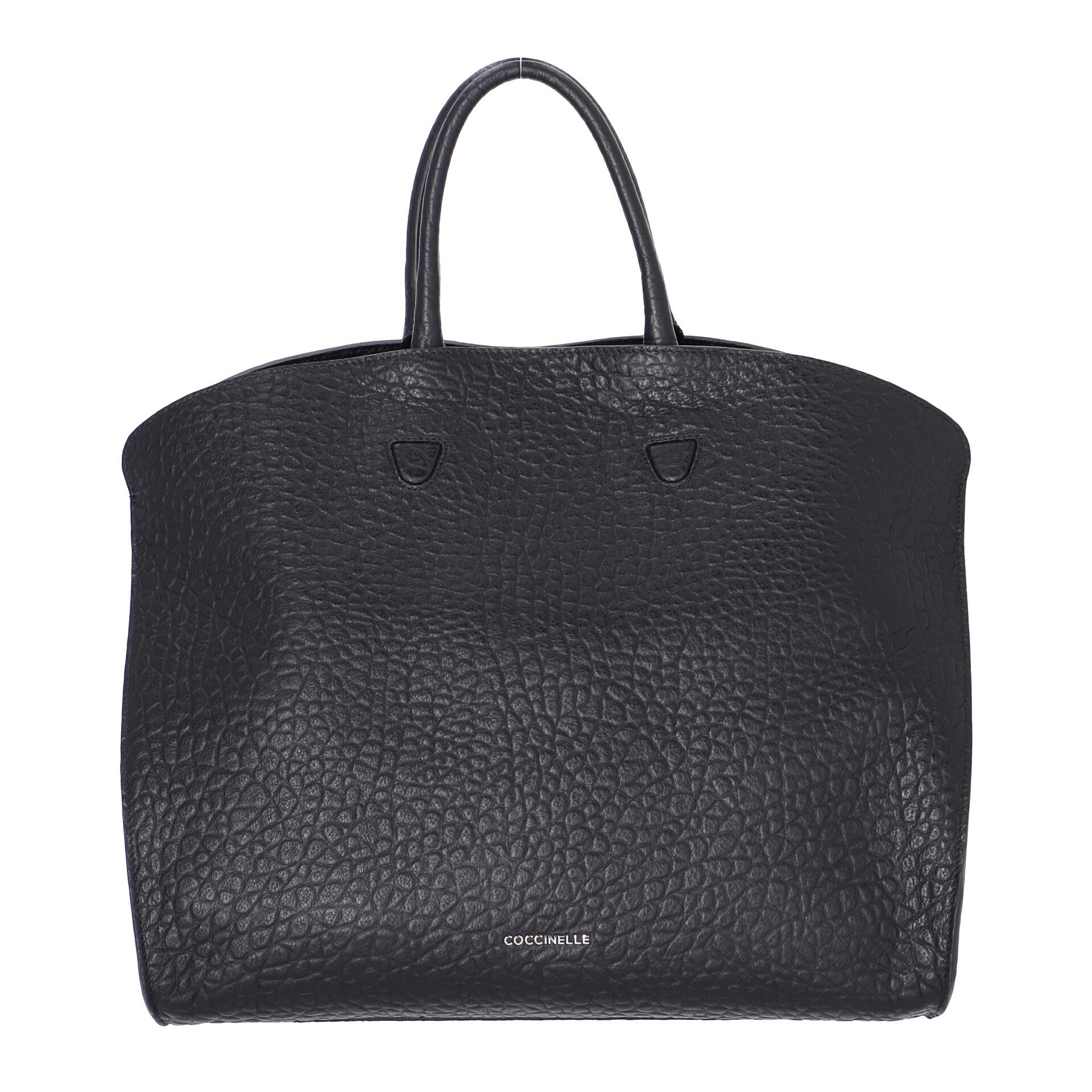 Coccinelle Angie Maxi Handtasche aus genarbtem Leder noir