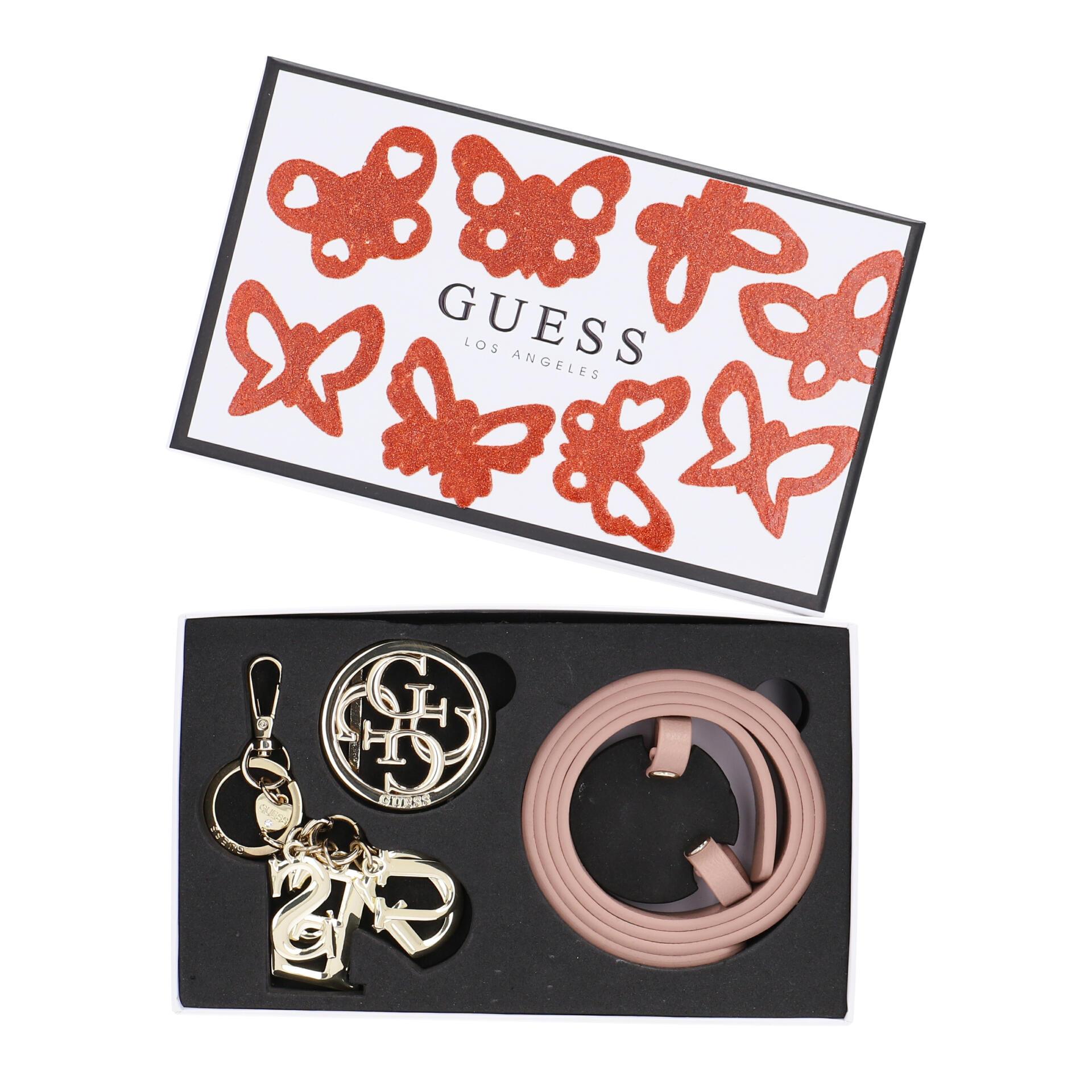 Guess Geschenkbox Schlüsselanhänger und Gürtel 95 cm rose