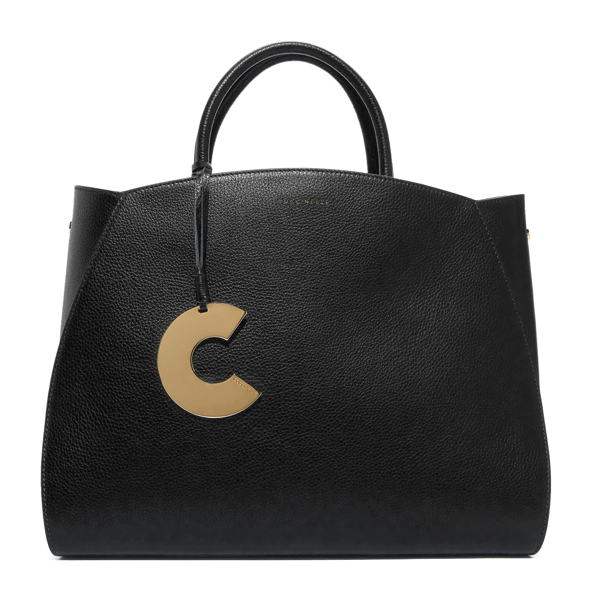 Coccinelle Concrete Maxi Handtasche aus natürlich genarbtem Leder noir